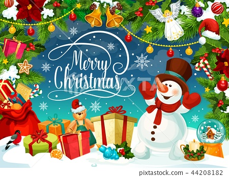 Merry Christmas poster with snowman and gift boxes 44208182