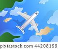 Top view of plane or jet aircraft flying over island and ocean. Summer travel or tourism agency 44208199