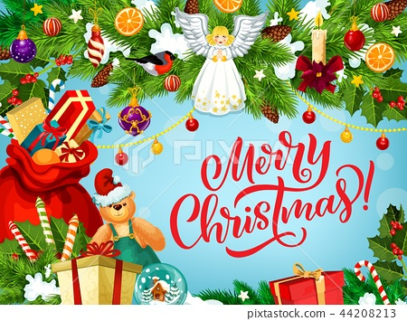 Merry Christmas greeting card with gifts and angel 44208213