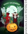 Halloween pumpkin, vampire and devil monster card 44208234