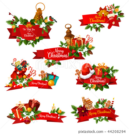 Christmas wish greeting ribbons vector icons 44208294