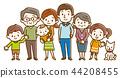 家庭三代手繪風格 44208455