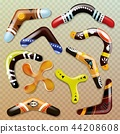 Boomerang vector aboriginal throwing weapon and australian souvenir sport toy in australia 44208608