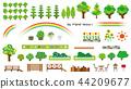 정원수와 꽃의 개체 (나무 울타리와 나무 데크) 44209677