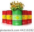 Green biofuel drum with sunflowers in front of red 44210282