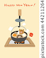 twelfth sign of the chinese zodiac, new year's card, fireplace 44211264