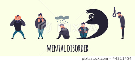 Group of people with psychology or psychiatric problem. Illness men in anxiety disorder. Phobia 44211454