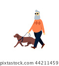 Blind senior with guide dog. Old man impaired vision. Elderly person with blindness on walk. 44211459