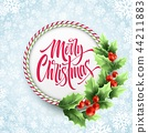 Merry Christmas lettering in circle candy cane frame 44211883