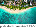 """""""하와이""""라니 카이 비치 오아후 섬 """"항공 사진"""" 44211922"""
