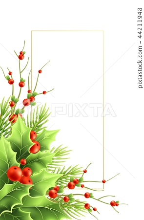 Christmas greeting card vector template with text frame 44211948