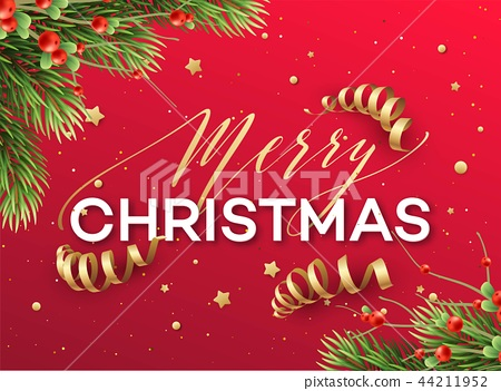 Merry Christmas greeting card vector template 44211952