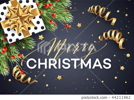 Merry Christmas greeting card vector template 44211962