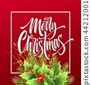 Merry Christmas greeting card vector template 44212001