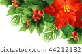 Red poinsettia flower realistic vector illustration 44212182