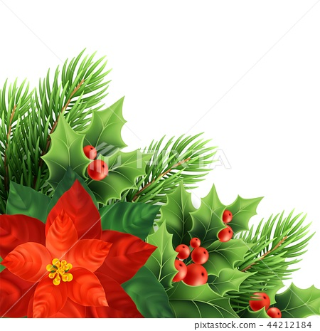 Christmas poinsettia flower realistic vector illustration 44212184