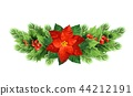 Christmas poinsettia flower realistic vector illustration 44212191