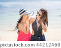 Women friends having fun and happy on beach. 44212460