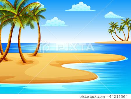 the beautiful tropical beach  44213364