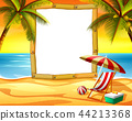 the wooden frame blank space with the sunset beach 44213368