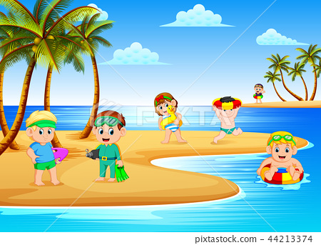 the beautiful beach view with the children playing 44213374