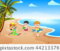 the beach view with the children playing  44213376
