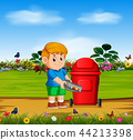 the boy throw the danger things to the red bin  44213398