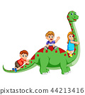the children playing and holding the diplodocus's  44213416