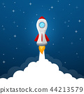 Rocket launch icon on blue sky background 44213579