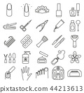 Manicure and Pedicure Signs Black Thin Line Icon Set. Vector 44213613
