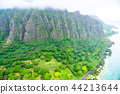 """""""夏威夷""""瓦胡島東北和山區""""航空攝影"""" 44213644"""