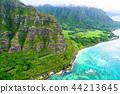 """""""夏威夷""""瓦胡島東北和山區""""航空攝影"""" 44213645"""
