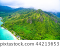 """""""夏威夷""""瓦胡島東北和山區""""航空攝影"""" 44213653"""