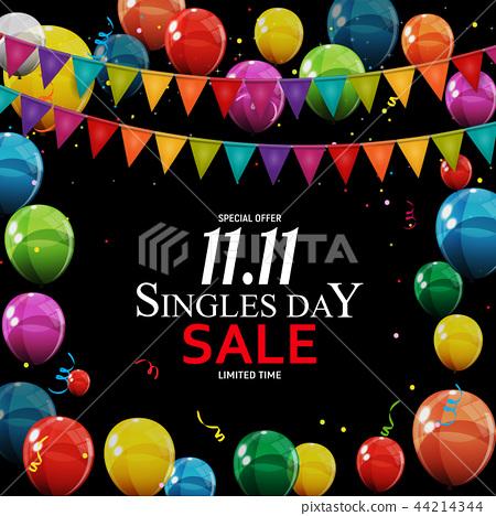 November 11 Singles Day Sale. Vector Illustration 44214344