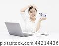 노트북, 여자, 컴퓨터 44214436