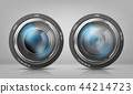 Vector set with camera lenses, zoom objectives 44214723