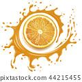 Orange juice splash with many drops 44215455