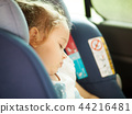 Safety Concept of baby in car seat. 44216481