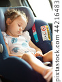 Safety Concept of baby in car seat. 44216483