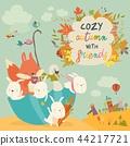 Happy animals sitting in umbrella in autumn park 44217721