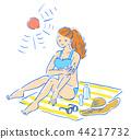 여성, 여자, 여름 44217732