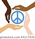 peace symbol in the middle of human hands different skin colors 44217836