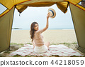 여성, 텐트, 여자 44218059