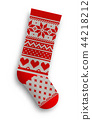 knitted christmas stocking, illustration 44218212