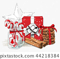 Christmas still-life, red gift box wit white 44218384