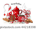 Christmas still-life, red tea pot, coolies 44218398