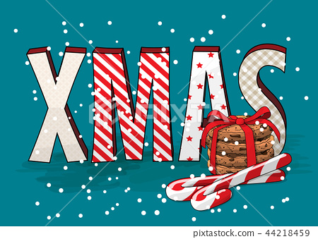 abstract text XMAS with cookies and candy canes 44218459