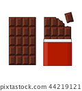 Chocolate Bar Set on White Background. Vector 44219121