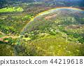 """""""하와이""""하늘에서 바라 보는 무지개 고리 오아후 섬 내륙 """"항공 사진"""" 44219618"""