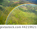 """""""夏威夷""""彩虹環從天空看到,歐胡島內陸""""航拍"""" 44219621"""